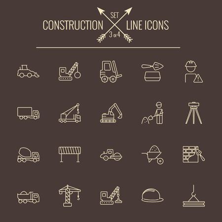 Construction icon set. Vector light yellow icon isolated on dark brown background. Ilustração
