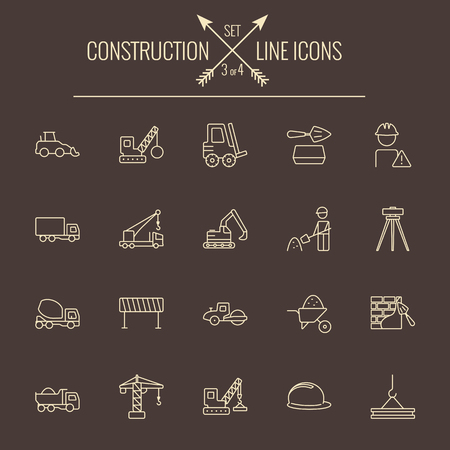 building site: Construction icon set. Vector light yellow icon isolated on dark brown background. Illustration