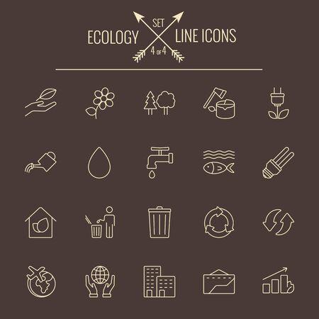 dark brown background: Ecology icon set. Vector light yellow icon isolated on dark brown background. Illustration