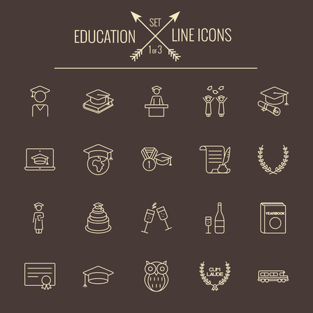 yearbook: Education icon set. Vector light yellow icon isolated on dark brown background. Illustration