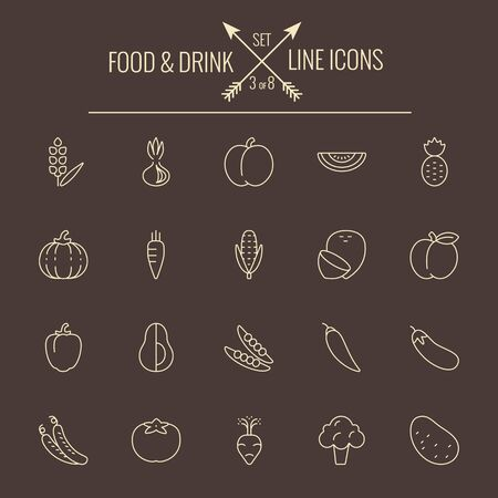 dark brown background: Food and drink icon set. Vector light yellow icon isolated on dark brown background.