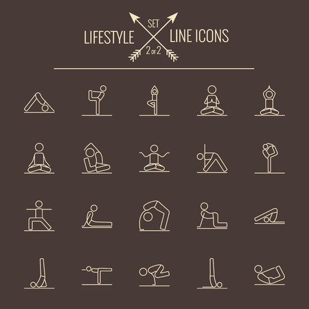 Lifestyle icon set. Vector light yellow icon isolated on dark brown background.