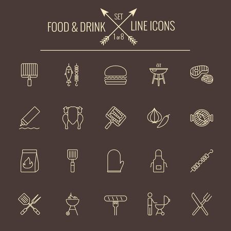 Food and drink icon set. Vector light yellow icon isolated on dark brown background.