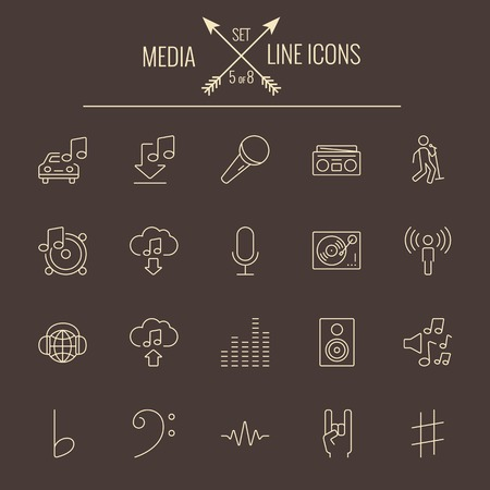 dark brown background: Media icon set. Vector light yellow icon isolated on dark brown background.