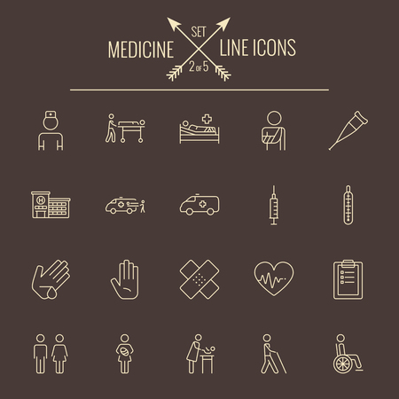 termometer: Medicine icon set. Vector light yellow icon isolated on dark brown background.