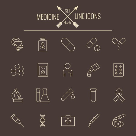 eye pipette: Medicine icon set. Vector light yellow icon isolated on dark brown background.