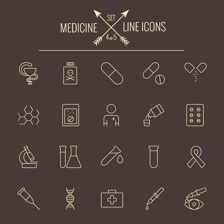 dark brown background: Medicine icon set. Vector light yellow icon isolated on dark brown background.
