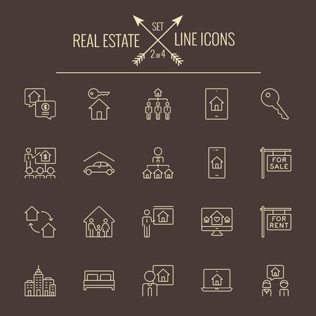 dark brown background: Real estate icon set. Vector light yellow icon isolated on dark brown background. Illustration