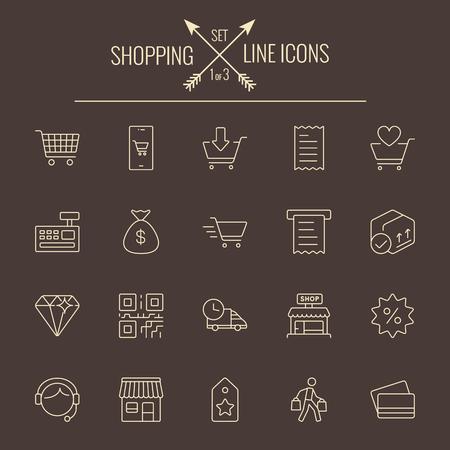 dark brown background: Shopping icon set. Vector light yellow icon isolated on dark brown background.