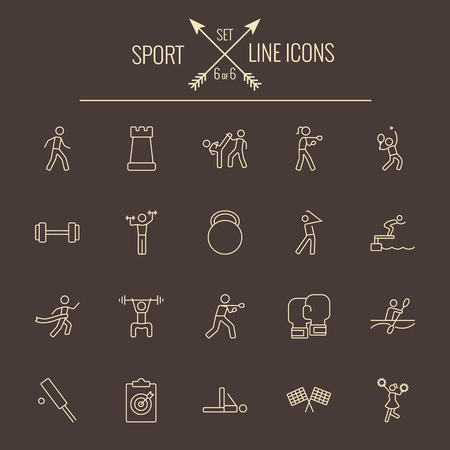 Sport icon set. Vector light yellow icon isolated on dark brown background.
