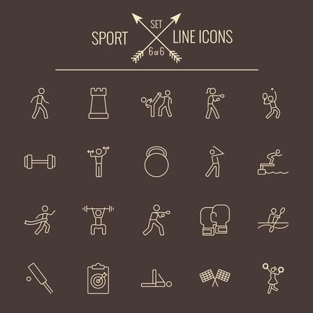 dark brown background: Sport icon set. Vector light yellow icon isolated on dark brown background.