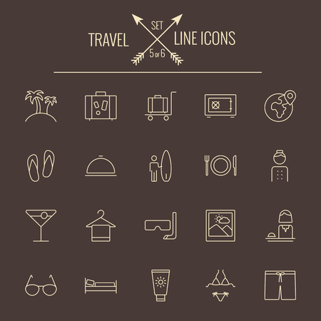 dark brown background: Travel and holiday icon set. Vector light yellow icon isolated on dark brown background.
