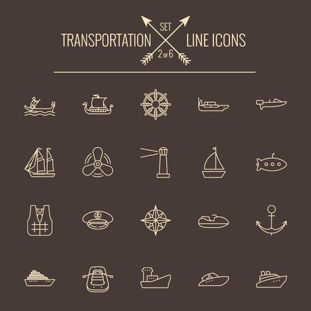 dark brown background: Transportation icon set. Vector light yellow icon isolated on dark brown background.