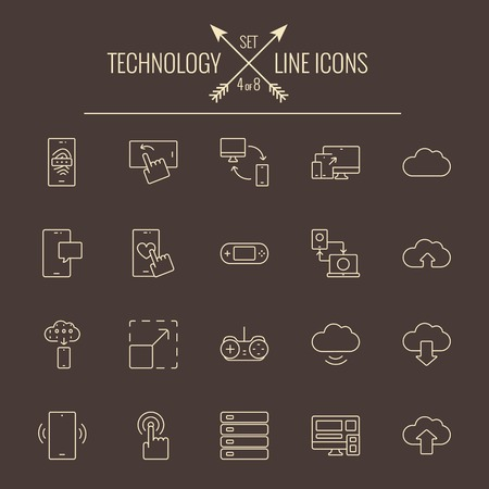 Technology icon set. Vector light yellow icon isolated on dark brown background.