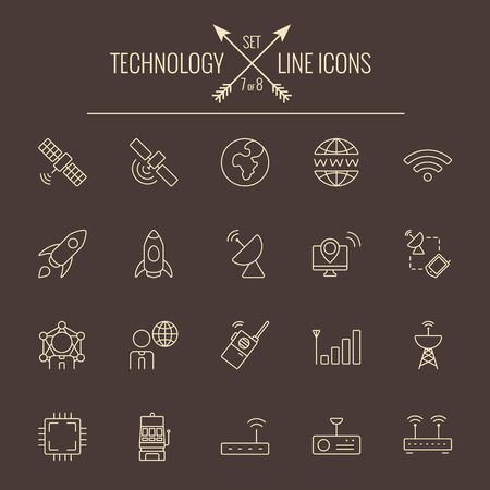 dark brown background: Technology icon set. Vector light yellow icon isolated on dark brown background.