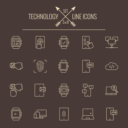 laptop mobile: Technology icon set. Vector light yellow icon isolated on dark brown background.