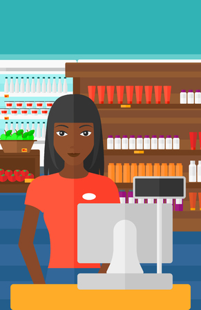 checkout: An african-american saleslady standing at checkout on the background of supermarket shelves with products vector flat design illustration. Vertical layout. Illustration