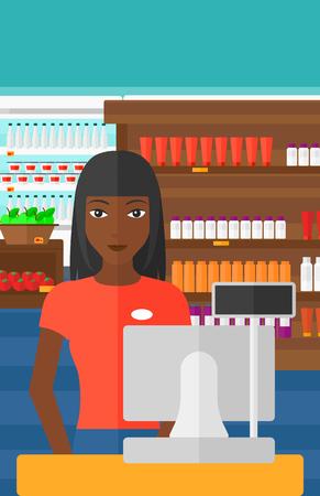 mujer en el supermercado: Una vendedora africano-americano que se coloca en la caja en el fondo de los estantes del supermercado con productos vector Ilustración diseño plano. disposición vertical. Vectores
