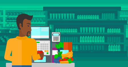 checkout counter: An african-american cashier at supermarket counter with vegetables and fruits on the background of supermarket shelves with products vector flat design illustration. Horizontal layout. Illustration