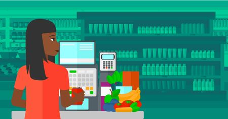 An african-american cashier at supermarket counter with vegetables and fruits on the background of supermarket shelves with products vector flat design illustration. Horizontal layout. Ilustração