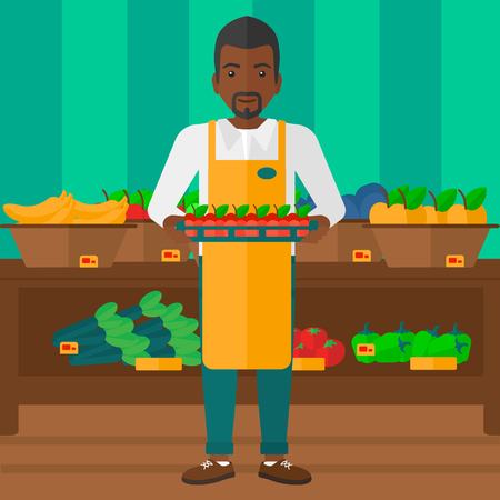 An african-american man holding a box with apples on the background of shelves with vegetables and fruits in supermarket vector flat design illustration. Square layout.
