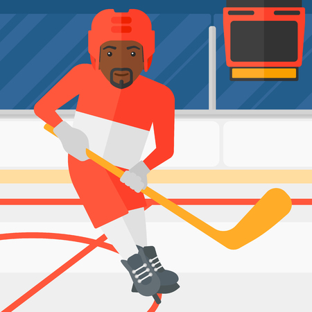 rink: An african-american man skating with a stick on ice rink vector flat design illustration. Square layout.