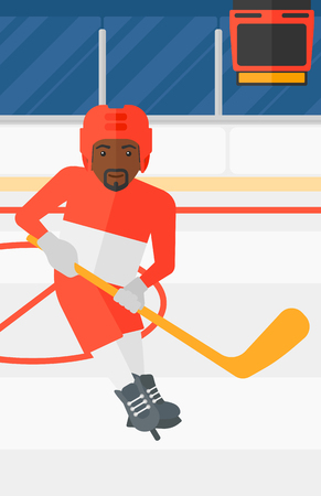 An african-american man skating with a stick on ice rink vector flat design illustration. Vertical layout.