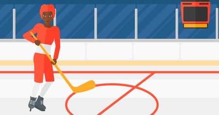 An african-american woman skating with a stick on ice rink vector flat design illustration. Horizontal layout. Illustration