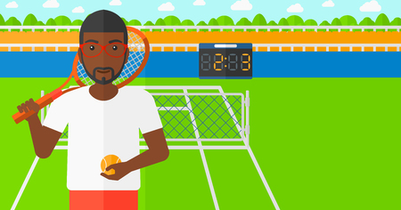 An african-american man holding a tennis racket and a ball on the background of tennis court vector flat design illustration. Horizontal layout.