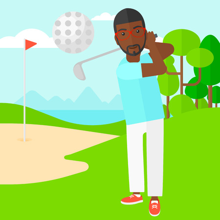 cartoon golf: An african-american man hitting the ball on golf field vector flat design illustration. Square layout. Illustration