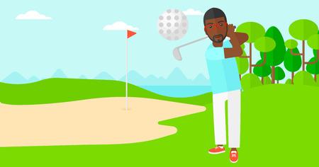 trees landscape: An african-american man hitting the ball on golf field vector flat design illustration. Horizontal layout. Illustration