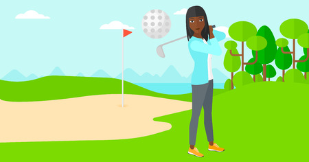 backgrounds trees: An african-american woman hitting the ball on golf field vector flat design illustration. Horizontal layout.
