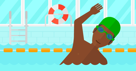 swimming cap: An african-american man wearing cap and glasses training in swimming pool vector flat design illustration. Horizontal layout.