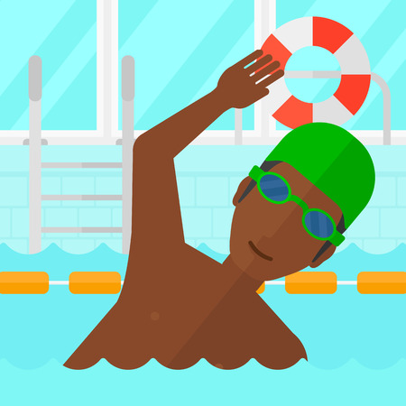swimming cap: An african-american man wearing cap and glasses training in swimming pool vector flat design illustration. Square layout. Illustration
