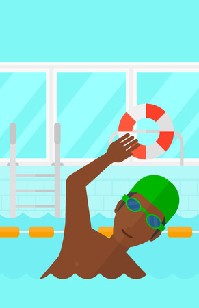 swimming cap: An african-american man wearing cap and glasses training in swimming pool vector flat design illustration. Vertical layout.