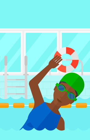 swimming cap: An african-american woman wearing cap and glasses training in swimming pool vector flat design illustration. Vertical layout.