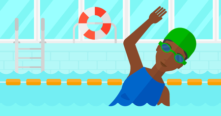 swimming glasses: An african-american woman wearing cap and glasses training in swimming pool vector flat design illustration. Horizontal layout. Illustration