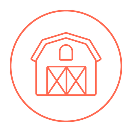 grain storage: Farm building line icon for web, mobile and infographics. Vector red thin line icon in the circle isolated on white background. Illustration
