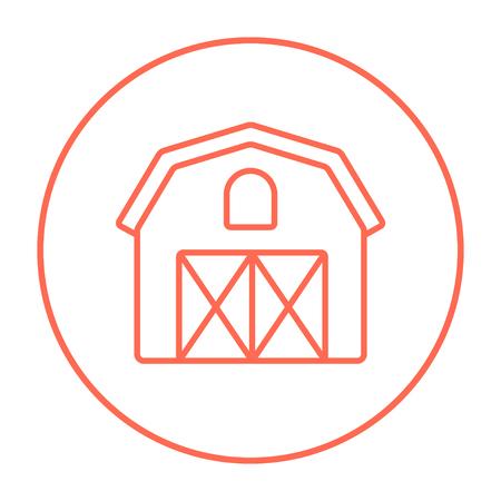 Icono de la línea edificio de la granja para web, móvil y la infografía. Vector icono delgada línea roja en el círculo aislado en el fondo blanco. Foto de archivo - 54561460