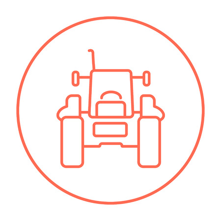 cultivation: Tractor line icon for web, mobile and infographics. Vector red thin line icon in the circle isolated on white background.