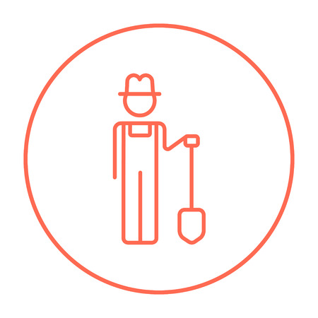 Farmer with shovel line icon for web, mobile and infographics. Vector red thin line icon in the circle isolated on white background.