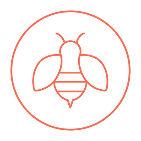 Bee line icon for web, mobile and infographics. Vector red thin line icon in the circle isolated on white background.