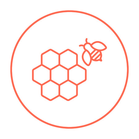 Honeycomb and a bee line icon for web, mobile and infographics. Vector red thin line icon in the circle isolated on white background. Ilustração