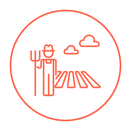 villager: Farmer with pitchfork standing on the field line icon for web, mobile and infographics. Vector red thin line icon in the circle isolated on white background.