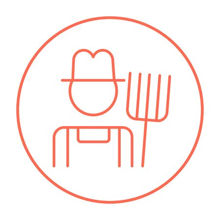 Farmer with pitchfork line icon for web, mobile and infographics. Vector red thin line icon in the circle isolated on white background.