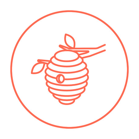 Bee hive line icon for web, mobile and infographics. Vector red thin line icon in the circle isolated on white background.