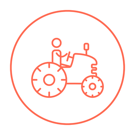 cultivation: Man driving a tractor line icon for web, mobile and infographics. Vector red thin line icon in the circle isolated on white background.