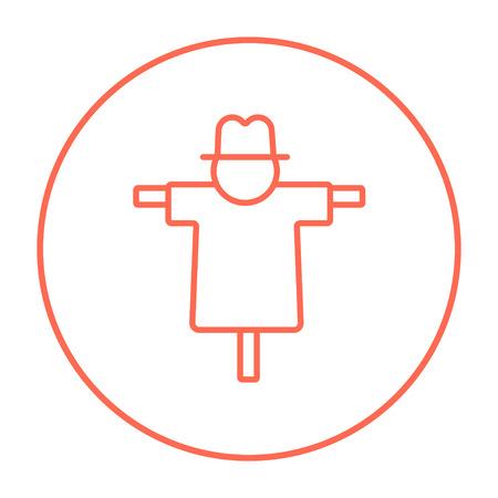 espantapajaros: icono de la línea espantapájaros para web, móvil y la infografía. Vector icono delgada línea roja en el círculo aislado en el fondo blanco. Vectores