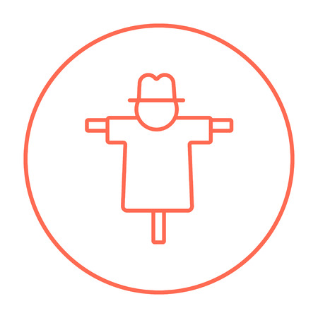 scarecrow: Scarecrow line icon for web, mobile and infographics. Vector red thin line icon in the circle isolated on white background.