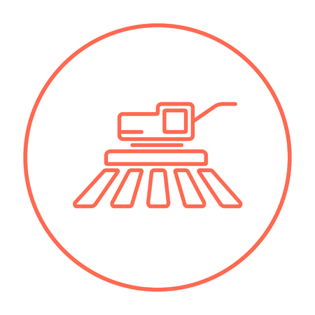 combine harvester: Combine harvester line icon for web, mobile and infographics. Vector red thin line icon in the circle isolated on white background. Illustration